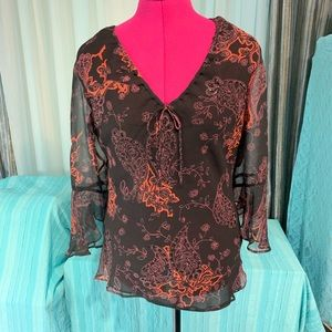 Stunning Silkland 100% Silk Chiffon Top